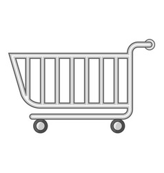 Supermarket shopping cart icon cartoon style vector