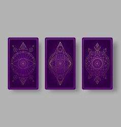 Tarot cards back set with mystical symbols vector