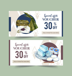 Thai sweet voucher design with sticky rice banana vector