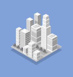 the isometric 3d city with skyscraper from urban vector image
