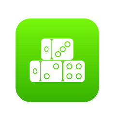 three dice cubes icon digital green vector image