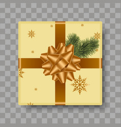 top view gold gift box with gold bow vector image