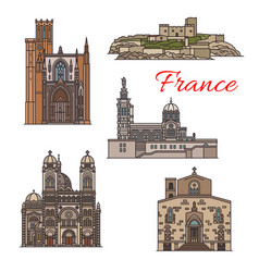 Travel landmarks and tourist sights of france icon vector