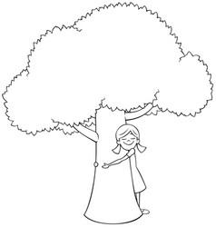 Tree hugger line art vector