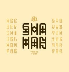 Tribal style shaman font vector