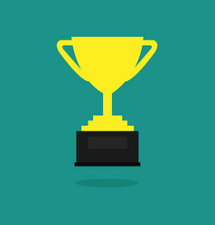 trophy cup flat icon championship trophy cup vector image