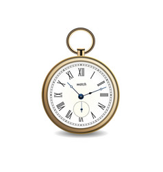Vintage gold watch on white background vector