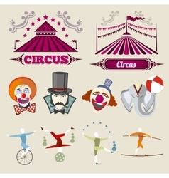 Vintage hipster circus set in flat style vector