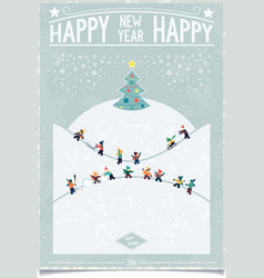 Vintage new year card with playing child vector