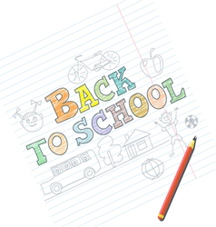 Welcome back to school card with kid sketches on n vector