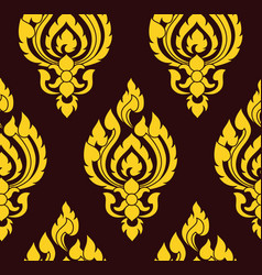 yellow and brown damask pattern royal oriantal vector image