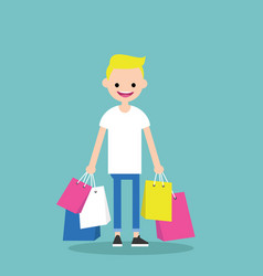 young trendy blond boy holding shopping bags vector image