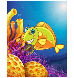 A smiling fish under the sea vector image vector image