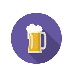 big mug of golden beer isolated on a colored vector image