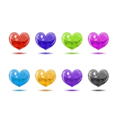 Colored glossy hearts vector image