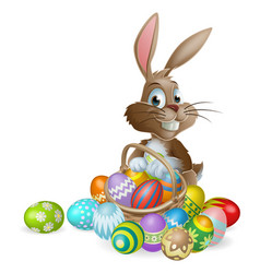 easter bunny rabbit with easter eggs basket vector image