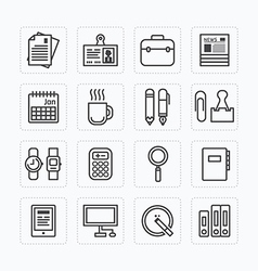 flat icons set of business office tools outline vector image vector image
