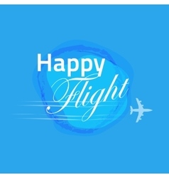 Happy flight card blue banner design vector image
