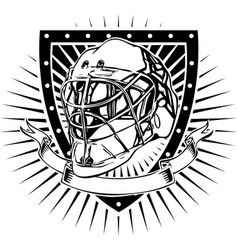 ice hockey helmet shield vector image