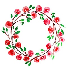 Red Flower watercolor wreath for beautiful design vector image