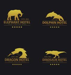 set of logo or emblem hotel with elephant dolphin vector image