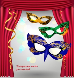 Theater curtains and masks vector image