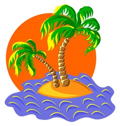 two palm trees on an island in the ocean at vector image