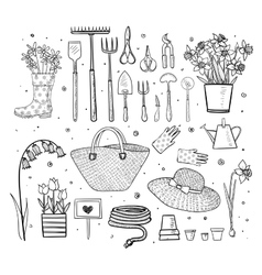 Big set of hand drawn sketch garden elements vector image