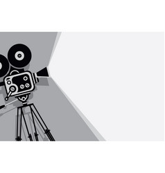 black and white backdrop with vintage movie camera vector image vector image