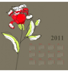calendar with rose for 2011 vector image