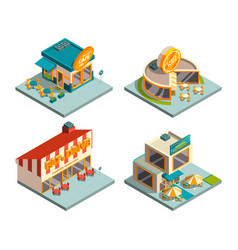 city cafe buildings isometric pictures vector image