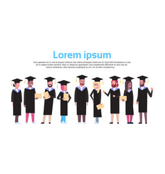 group of diverse students in graduation cap and vector image
