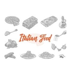 Hand Drawn Italian Food Icons Set vector image vector image
