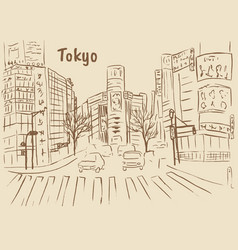 shopping street in shibuya vector image vector image