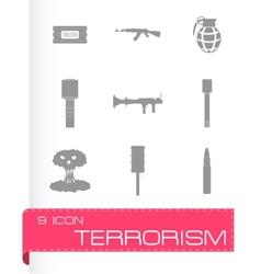 Terrorism icons set vector