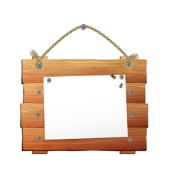 Wooden Sign With Rope vector image vector image