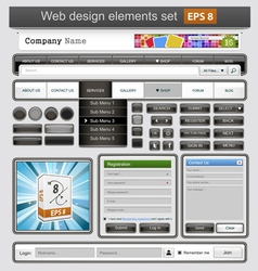 Black web design elements set vector image