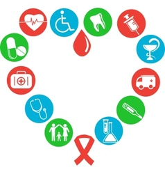 Image of the heart consisting of medical icons vector image