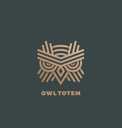 owl totem abstract sign emblem or logo vector image vector image