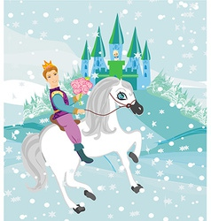 Prince riding a horse to the princess on a winter vector image