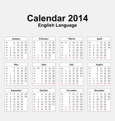 Calendar 2014 Typ 13 vector image vector image