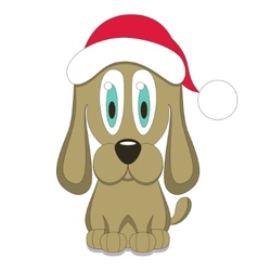 dog in red Christmas hat vector image vector image