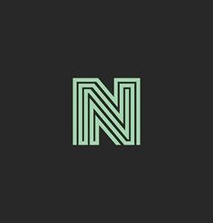 Hipster initial N letter logo monogram green vector image vector image
