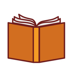 opened book in colorful silhouette with brown vector image