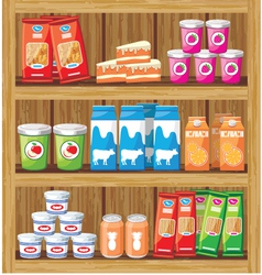 Shelfs with food vector image vector image