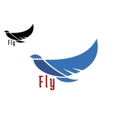 Silhouette of flying blue bird vector image vector image