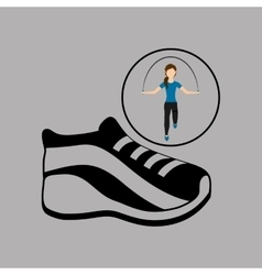 sport woman jumping rope sneaker vector image vector image