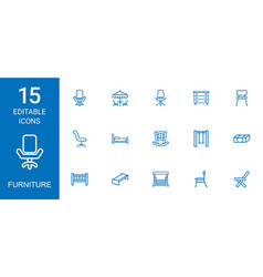 15 furniture icons vector