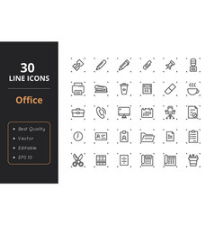 30 office line icons vector image