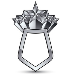3d heraldic template with five pentagonal silver vector